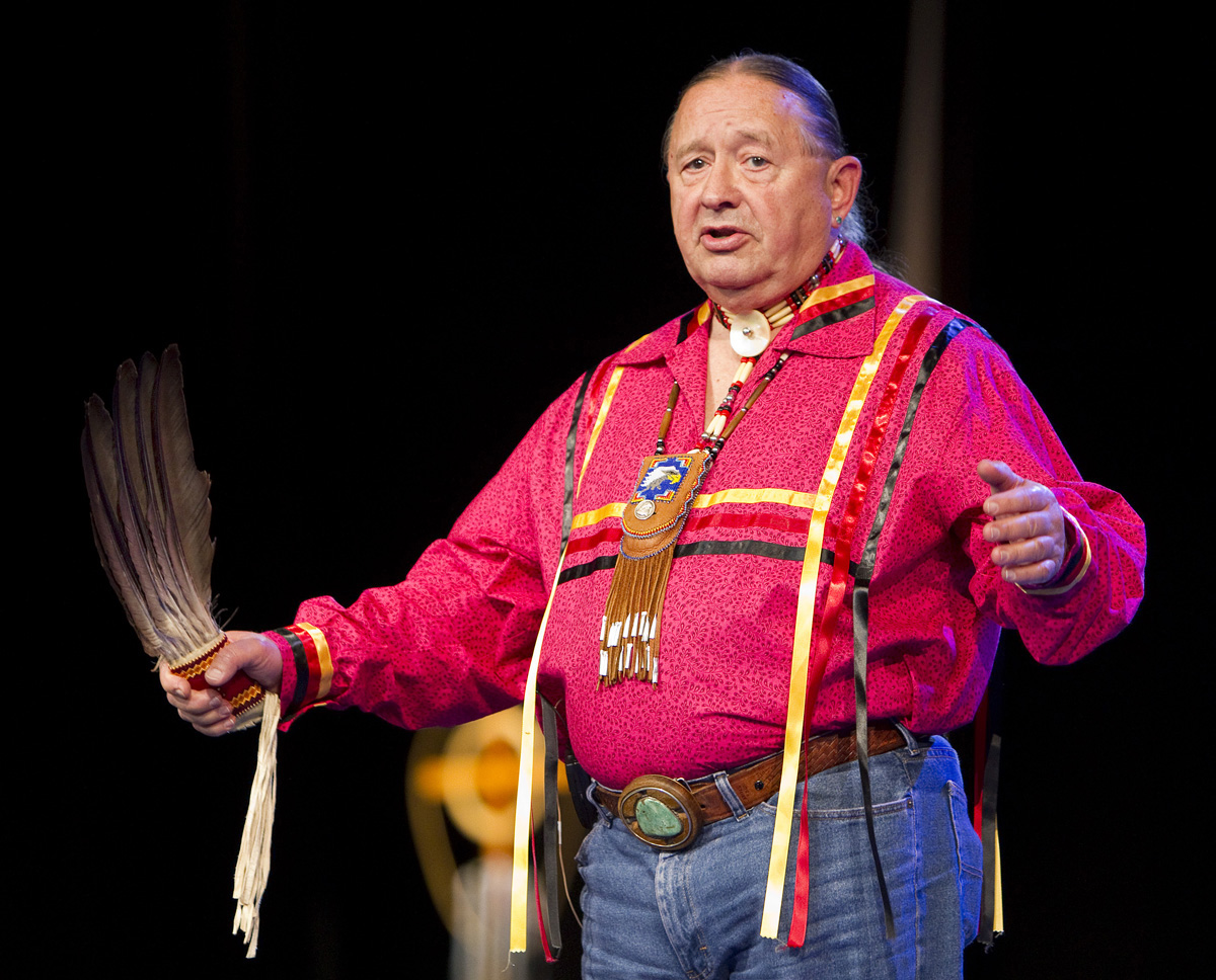 """Tink Tinker (wazhazhe, Osage Nation) helps lead an """"Act of Repentance toward Healing Relationships with Indigenous Peoples"""" at the 2012 United Methodist General Conference in Tampa, Fla. Tinker is professor emeritus at The Iliff School of Theology. File photo by Mike DuBose, UM News."""