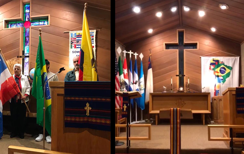 """Dos fotos de las celebración del  """"Mes de la Herencia Hispana"""", en la IMU Nuevo Amanecer de Des Plaines estado de Illinois, contrastan la manera como se llevaron a cabo las festividades presenciales en el 2019 (foto de la izquierda) y de manera virtual en el 2020 (foto de la derecha). Fotos cortesía de la Revda. Fabiola Grandon-Mayer, Conferencia Anual del Norte de Illinois.."""