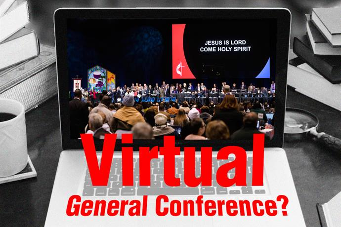With coronavirus cases on the rise across the U.S. and public gatherings still limited for the foreseeable future, United Methodists are urging 2021 General Conference organizers to plan for an online conference. Laptop image by Kathryn Price, United Methodist Communications; view of the stage at the 2019 special session of General Conference by Kathleen Barry; graphic by Laurens Glass, UM News.