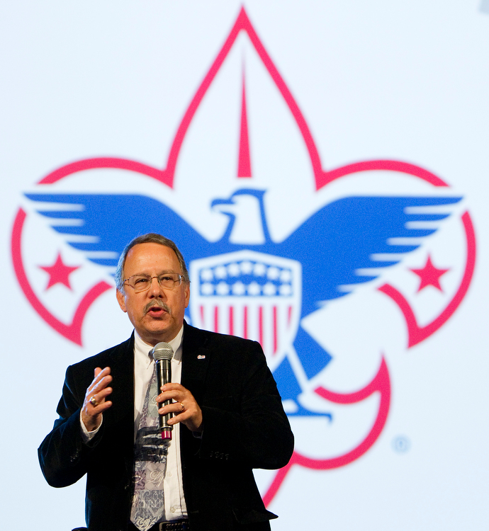 Gilbert C. Hanke speaks about scouting ministries during the 2012 United Methodist General Conference in Tampa, Fla. In the midst of a bankruptcy filing by the Boy Scouts of America, Hanke, top staff executive of United Methodist Men, said the group continues to support scouting. File photo by Mike DuBose, UM News.