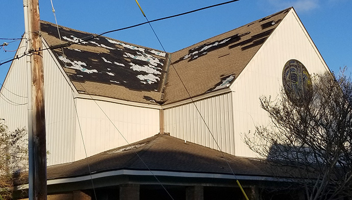Hurricane Zeta damaged the roof of First United Methodist Church in Long Beach, Miss. Photo by Jay Lynn.