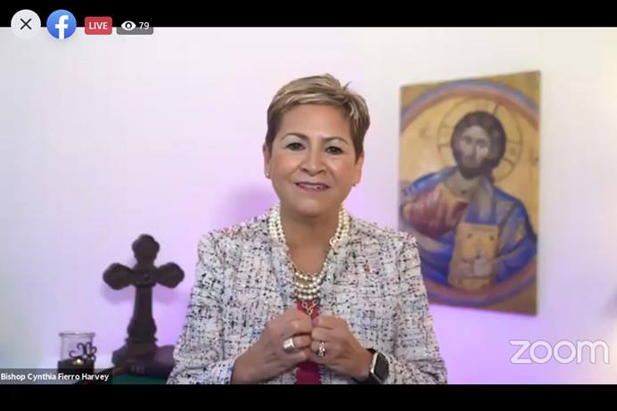 Bishop Cynthia Fierro Harvey delivers her first opening address as Council of Bishops president on Nov. 2 as the bishops begin their second online meeting across four continents. Bishop Harvey stressed that even during this time of natural disasters, political divisions and the COVID-19 pandemic, God's compassion remains steadfast. Screenshot of Zoom meeting via Facebook by UM News.