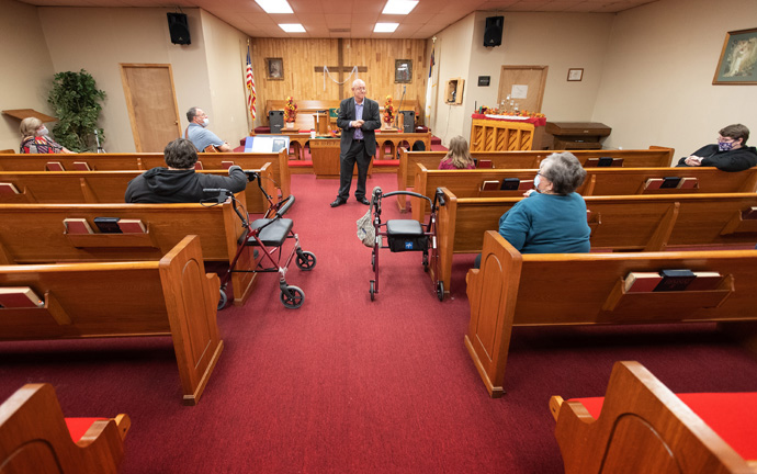 Members of New Life United Methodist Church in Ripley, Tenn., gather for a service of prayer before the 2020 U.S. presidential election. The Rev. James Paris (center) led the service. Photo by Mike DuBose, UM News.