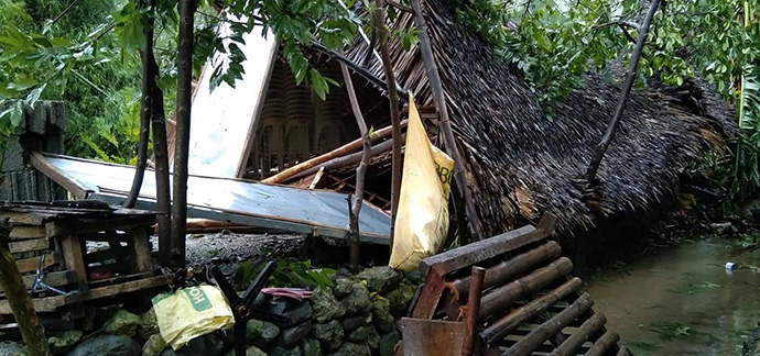 The Lobo Mission Chapel in Batangas, Philippines, collapsed after being in the path of Typhoon Rolly, which made landfall on Nov. 1. Photo by the Rev. Fely Dela Cruz.