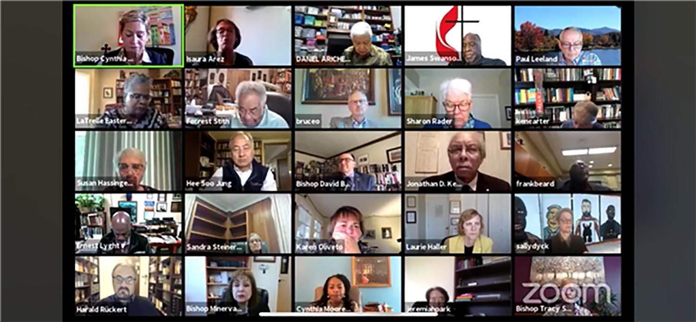 La reunión virtual Concilio de Obispos/as, llevada a cabo del 2 al 5 de noviembre pasado, reunió a 115 obispos/as activos/as y retirados/as de África, Asia, Europa y América del Norte. Foto cortesía del Concilio de Obispos/as de La Iglesia Metodista Unida