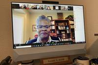 United Methodist Bishop LaTrelle Easterling speaks at the virtual Inclusiveness Conference, organized by the United Methodist Association of Retired Clergy. The leader of the Baltimore-Washington Conference called on United Methodists not to back down from their commitment to dismantle racism. Photo by the Rev. Valerie L. Jackson, one of the event's moderators.