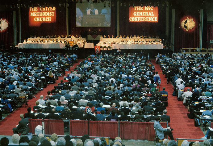 Delegates consider legislation during the 1992 United Methodist General Conference in Louisville, Ky., which established Shalom Zones as a way to partner with communities suffering from systemic issues of poverty. File photo by John C. Goodwin, GBGM.