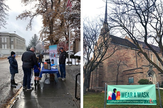 The Cathedral of the Rockies in Boise, Idaho, distributes bags with hot cocoa mix and the materials to make a Nativity scene to enhance watching services online (photo on left). The church, which is planning three outdoor services on Christmas Eve, has a sign out front encouraging people to love their neighbors and wear a mask. Photos courtesy of Cathedral of the Rockies.