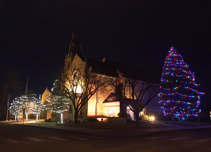 "Although in past years Cathedral of the Rockies in Boise, Idaho, has not added decorations outside, this year the church wanted to bring ""light to the community"" with a festive display and a large Christmas tree. Photo courtesy of Cathedral of the Rockies."