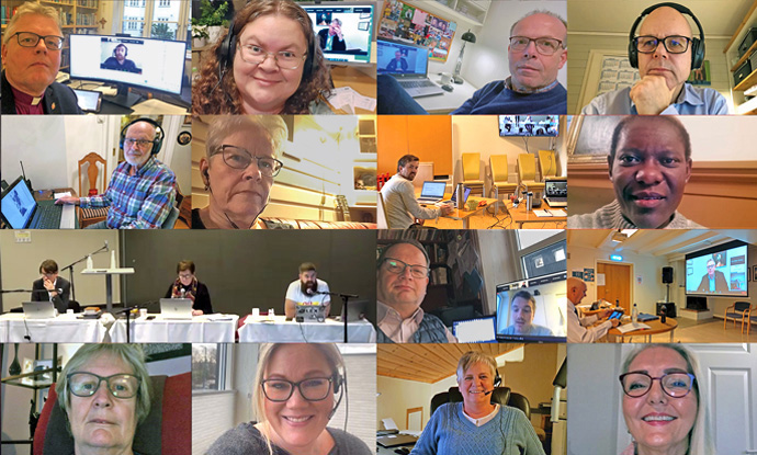 Attendees of the virtual meeting of the Norway Conference held in late November (including Noridic and Baltic Area Bishop Christian Alsted, top left) shared selfies taken during the session. The Norway Conference plans to issue a public apology to LGBTQ people as part of an ongoing process leading to full inclusion. Image courtesy of Karl Anders Ellingsen, The United Methodist Church of Norway.