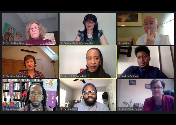 An informal group of General Conference delegates holds the first of two webinars Dec. 1. The delegates discussed feedback they have received from United Methodists about casting a new vision for the denomination. Screenshot of Zoom meeting by UM News.