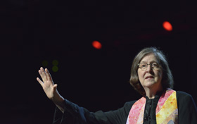 Bishop Elaine Stanovsky preaches during a May 20 worship service at the 2016 United Methodist General Conference in Portland, Ore. File photo by Paul Jeffrey, UM News.