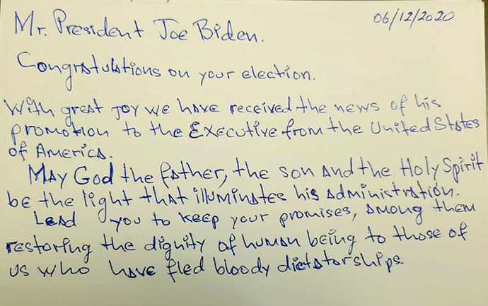A letter written to President-elect Joe Biden by a migrant living in Matamoros, Mexico, encourages him to carry through with immigration reforms that he promised during his campaign. Photo courtesy of Cindy Andrade Johnson.