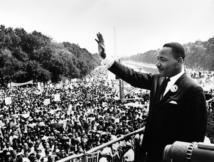"""The Rev. Martin Luther King Jr. addresses the crowd from the steps of the Lincoln Memorial, where he delivered his famous """"I Have a Dream"""" speech during the Aug. 28, 1963, march on Washington, D.C. Photo by the United States Marine Corps."""
