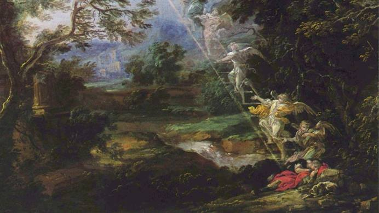 그림, 마이크 윌먼의  '야곱의 사닥다리, 1691', 위키피디아 커먼스.