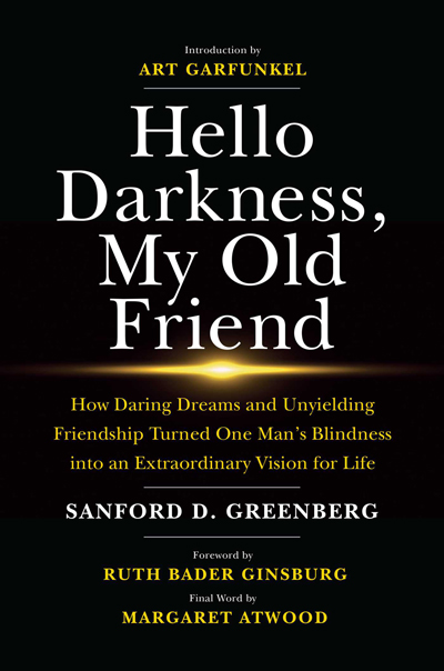 """Cover art for """"Hello Darkness, My Old Friend,"""" written by Sanford D. Greenberg. Image courtesy of Simon and Schuster."""