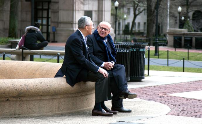 2016 photo of Sanford D. Greenberg (left) and Art Garfunkel. Photo by Jeffrey Saks, courtesy of Columbia Magazine, Columbia University.