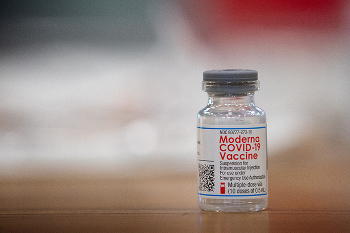 A vial of the Moderna COVD-19 vaccine rests on a preparation table at Community United Methodist Church in Vincennes, Ind. The church opened the doors of its recreational center to host a vaccination site for Knox County, Ind. Photo by Mike DuBose, UM News.