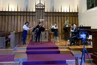 The Rev. Juhee Lee, Kate Kim and Christine Song on violin, Cheongmoo Kang on bass clarinet, Beverly Rathbun on organ and Da Eun Ryu on piano record free hymns and special music for the Lenten season. Photo courtesy of the Rev. Yohan Go.