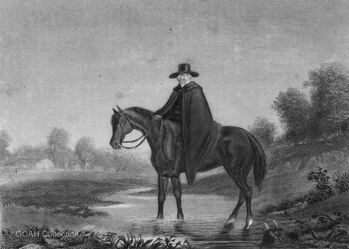"""A historic image of a Methodist circuit rider. The United Methodist Commission on Archives and History serves as the church's """"ministry of memory"""" to learn from the past and anticipate the future. Image courtesy of the General Commission on Archives and History at Drew University."""