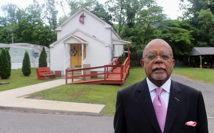 "Henry Louis Gates Jr. visits the church he grew up attending, Waldon United Methodist in Piedmont, W.Va., for a scene in the new PBS documentary ""The Black Church: This Is Our Story, This Is Our Song."" Photo courtesy of PBS."
