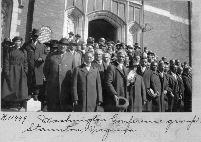 """An undated photo in front of Augusta Street Methodist Episcopal Church, in Staunton, Va., appears in the PBS documentary """"The Black Church,"""" airing Feb. 16-17. The handwritten information with the photo says, """"Washington Conference group, Staunton, Virginia."""" The United Methodist Commission on Archives and History provided the filmmakers with that photo and more than 50 others. Photo Courtesy of the United Methodist Commission on Archives and History."""