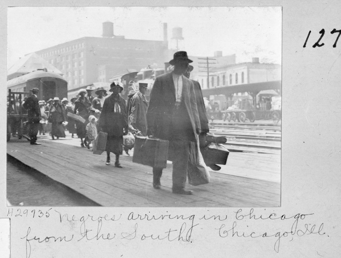 """Among the historic images provided by the United Methodist Commission on Archives and History for the new PBS film """"The Black Church"""" is this one showing African Americans from the South arriving in Chicago. More than 50 photos from Archives and History are seen in the documentary. Photo courtesy of the United Methodist Commission on Archives and History."""