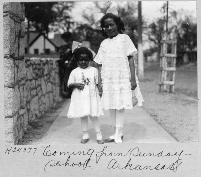"""The new PBS documentary """"The Black Church: This Is Our Story, This Is Our Song,"""" makes use of more than 50 historic photos from the United Methodist Commission on Archives and History. The hand-written information on this image reads, """"Coming from Sunday School. Arkansas."""" Photo courtesy of the United Methodist Commission on Archives and History."""