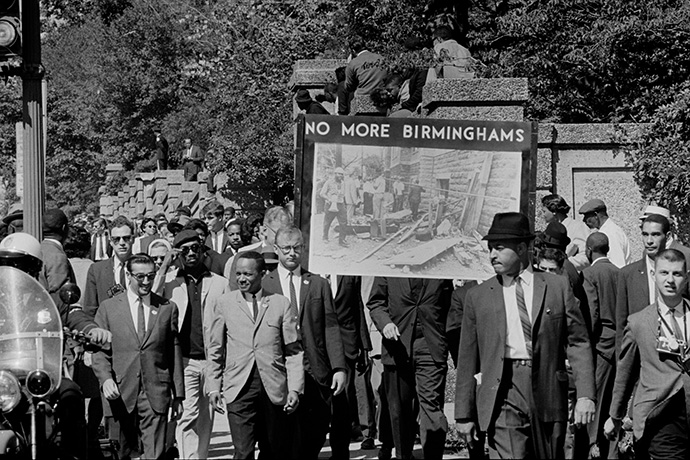 People march in memory of the four girls killed in the bombing of the 16th Street Baptist Church in Birmingham, Ala. The march was sponsored by the Congress of Racial Equality and was held in Washington, D.C., in 1963. Photo by Thomas J. O'Halloran, U.S. News and World Report Magazine Photograph Collection/Library of Congress.