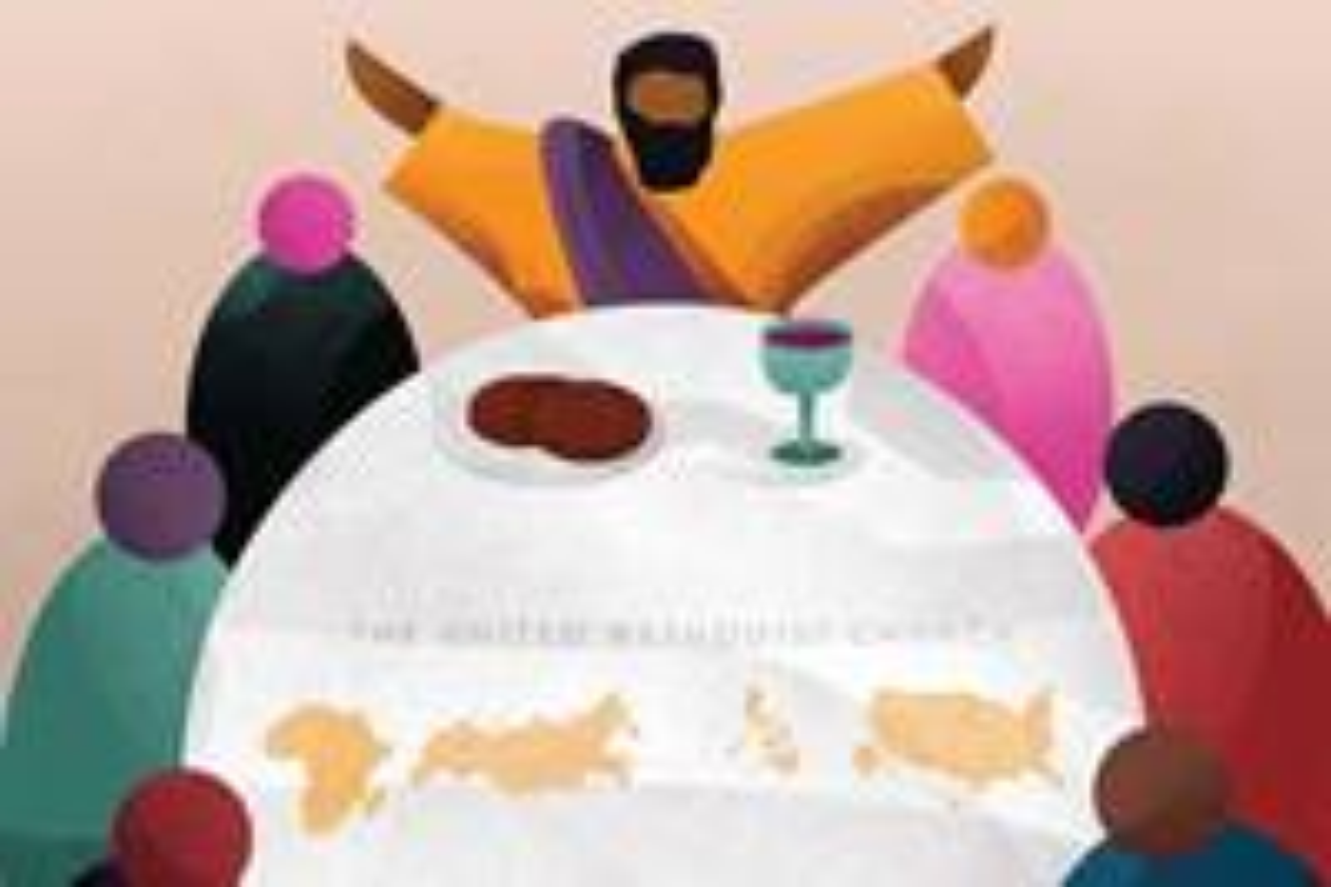 Um grupo internacional de delegados da Conferência Geral convidou outros Metodistas Unidos a imaginar uma maneira melhor de ser a igreja. Com base em parte nesse feedback, o grupo está revelando um novo mapa de visão que oferece maneiras de abrir espaço para todos na mesa de Deus. Ilustração cortesia de Out of Chaos, Creation.