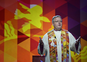 """Bishop Christian Alsted preaches during the 2016 United Methodist General Conference in Portland, Ore. Alsted joined two fellow European bishops in issuing a recent statement. They pledged that theological traditionalists would have a place in a """"Future United Methodist Church,"""" should the denomination split. File photo by Paul Jeffrey, UM News."""