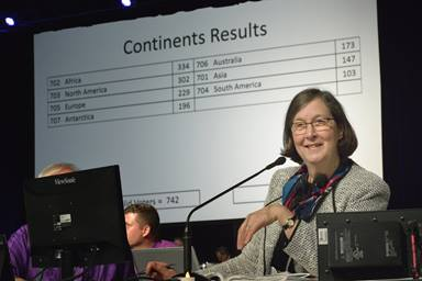 Bishop Elaine J.W. Stanovsky presides as delegates hone their electronic voting skills during a practice election at the 2016 General Conference in Portland, Ore. In response to the Commission on the General Conference's decision to further postpone the 2020 General Conference until 2022, the Council of Bishops has called a special session of the General Conference to be convened online on May 8, 2021. File photo by Paul Jeffrey, UM News.