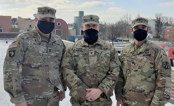 National Guard chaplains are assigned to provide spiritual support and counseling for guard members stationed at the U.S. Capitol. From left are U.S. Army Capt. Chad McCabe, chaplain with 101st Engineer Battalion, Massachusetts National Guard; Spc. Justin Clark, chaplain assistant with 164th Transportation Battalion; and Capt. Luis Alvarez, chaplain with the 164th Transportation Battalion. Photo by National Guard Capt. John Quinn.