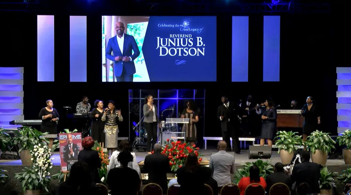 United Methodists and guests celebrate the life of the Rev. Junius B. Dotson during a March 6 service at Windsor Village United Methodist Church in Houston. Dotson, the top executive of Discipleship Ministries, died Feb. 25 at age 55. Photo courtesy of Discipleship Ministries.