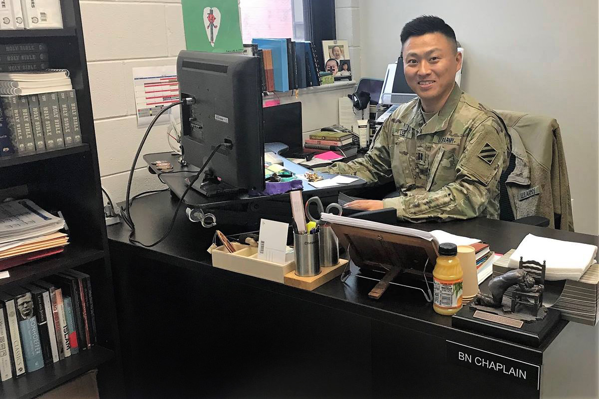 The Rev. DooSoo Lee, an elder in the Northern Illinois Conference of The United Methodist Church, serves soldiers at the U.S Army's Garrison Humphreys in Pyeongtaek, South Korea, where he is currently deployed. Photo courtesy of the Rev. DooSoo Lee, U.S. Army.