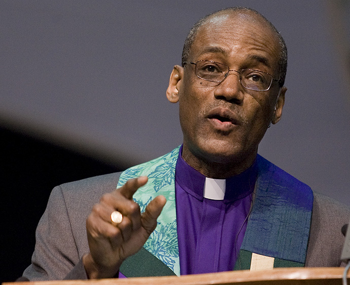 United Methodist Bishop Ernest Lyght gives the sermon during morning worship at the 2008 United Methodist General Conference in Fort Worth, Texas. Lyght says the denomination's Dismantling Racism campaign is long overdue. File photo by Mike DuBose, UM News.