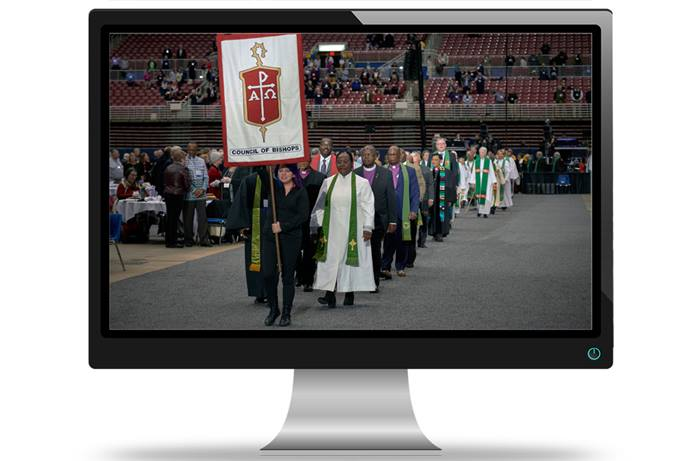 Bishops process into worship on Feb. 24, 2019, at the special session of General Conference, held in St. Louis. A group of delegates is urging bishops to rethink their plans for a special virtual General Conference on May 8 and a hold on U.S. bishop elections this year. File photo by Paul Jeffrey, UM News; computer image by Michael Gaida, courtesy of Pixabay.