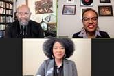 "Co-authors of the book ""I'm Black. I'm Christian. I'm Methodist"" join in a panel discussion during an online meeting of Black Methodists for Church Renewal. Clockwise from upper left are: the Revs. Rudy Rasmus, Tori Butler and Erin Beasley. Screenshot via Zoom."