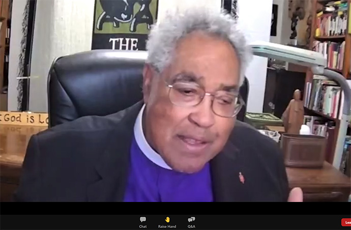 Retired Bishop Forrest C. Stith gives the keynote address during an online meeting of Black Methodists for Church Renewal, the Black caucus of The United Methodist Church. Screenshot via Zoom.