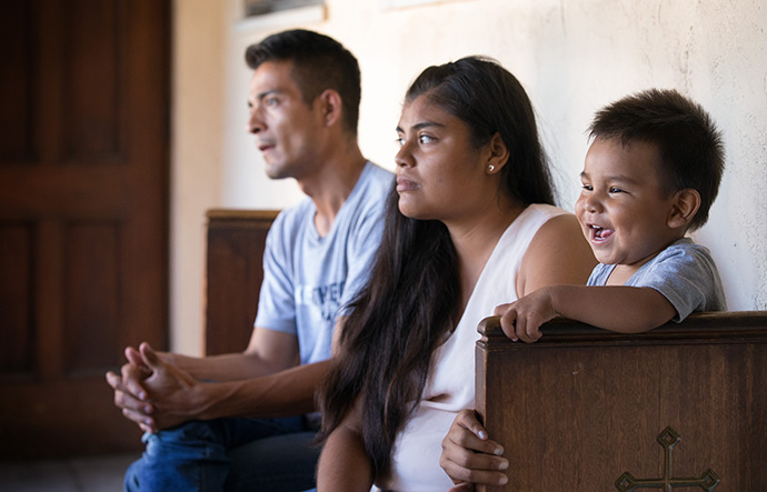 Jose Antonio Marchas Novela recounts the threats of violence that caused him to flee Mexico with his wife, Irlanda Lizbeth Jimenez Rodriguez, and their 1-year-old son, Jose Antonio in 2018. The family took shelter at the Christ United Methodist Ministry Center in San Diego while seeking asylum. The United Methodist Board of Global Ministries has allocated $1.1 million to aid asylum seekers in the U.S. File photo by Mike DuBose, UM News.