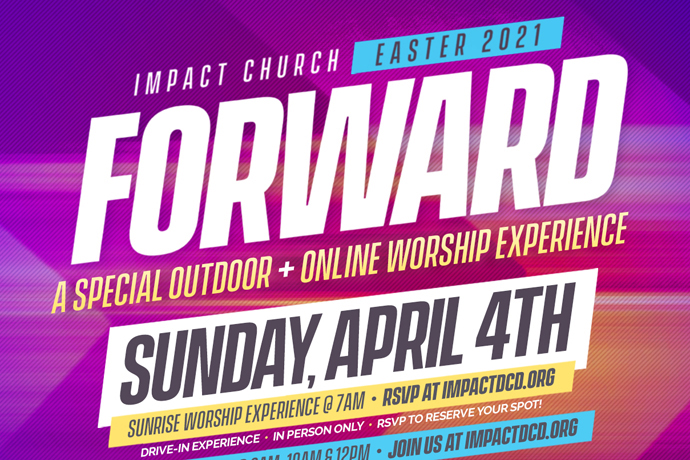 Impact Church, a United Methodist congregation near Atlanta, promotes different options for celebrating Easter including an outdoor service and continued online worship. Image courtesy of Impact Church.