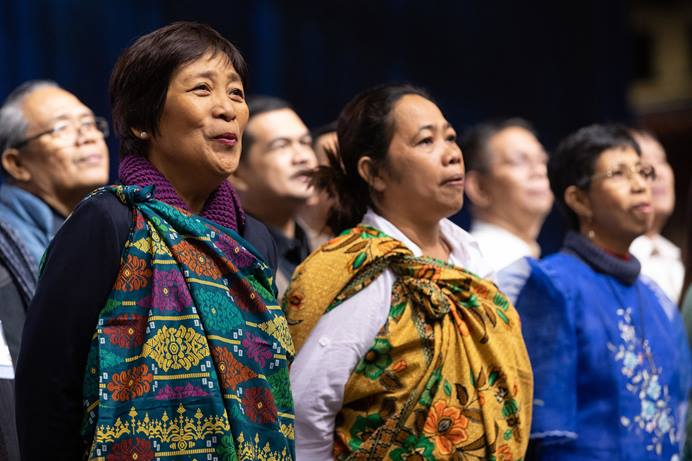 Delegates from the Philippines and Southeast Asia sing during the 2019 United Methodist General Conference in St. Louis. Nearly 300 Filipino United Methodists joined a virtual conversation March 16 to talk about the Christmas Covenant and other plans for the future of The United Methodist Church. More webinars are planned for church members in Africa and Europe. File photo by Mike DuBose, UM News.