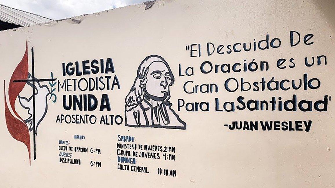 Este mural esta ubicado en La Iglesia Metodista Unida Aposento Alto en la ciudad de Tegucigalpa, capital de Honduras. Foto cortesía IMU Aposento Alto.
