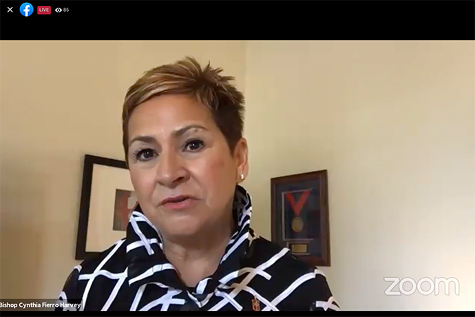United Methodist Bishop Cynthia Fierro Harvey gives the presidential address during an online meeting of the denomination's Council of Bishops. Harvey challenged both bishops and General Conference delegates to focus on shared mission, not frustrations. UM News screenshot via Zoom.
