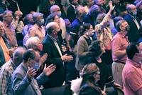 Attendees stand for singing and prayer at the Wesleyan Covenant Association's Global Gathering, held at Frazer Memorial United Methodist Church in Montgomery, Ala. Photo by Sam Hodges, UM News.