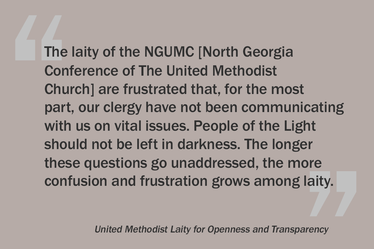 An excerpt from the full-page ad placed in the May 9 issue of the Atlanta Journal-Constitution by a group of North Georgia Conference laity. The ad was an open letter to Bishop Sue Haupert-Johnson seeking answers around the appointment dispute at Mt. Bethel United Methodist Church, LGBTQ inclusion and the future of the church. Graphic by Laurens Glass, UM News.