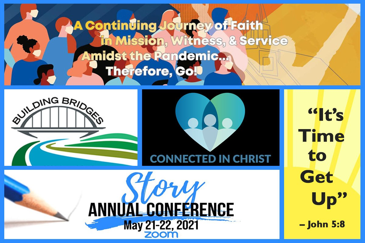 """Themes for United Methodist annual conferences in 2021 include (clockwise, from top) """"A Continuing Journey of Faith (conferences in the Manila Episcopal Area), """"It's Time to Get Up"""" (Sierra Leone), """"Story"""" (Louisiana), """"Building Bridges"""" (Western Virginia), and """"Connected in Christ"""" (Iowa). Graphic by Laurens Glass, UM News."""