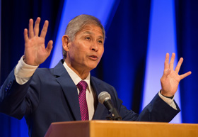 United Methodist Bishop Grant Hagiya welcomes participants to the 2016 Pre-General Conference Briefing in Portland, Ore.  File photo by Mike DuBose, UM News.