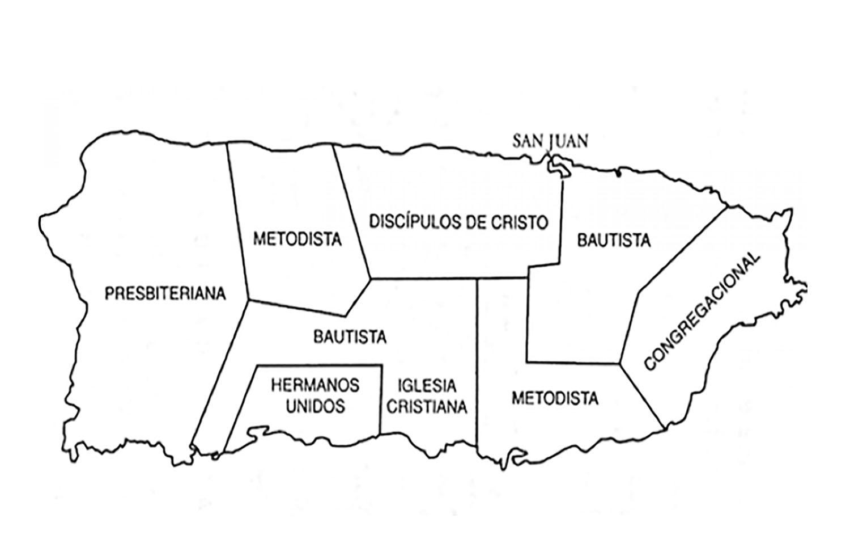Mapa de Puerto Rico que muestra la división del territorio que las denominaciones protestantes hicieron, después de la guerra hispano-americana. Ilustración cortesía de MARCHA.