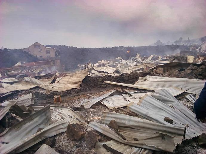 L'église Méthodiste Unie de Majengo à Goma, en RDC, a été détruite lors de l'éruption du volcan du Mont Nyiragongo. Photo de Philippe Kituka Lolonga, UM News.